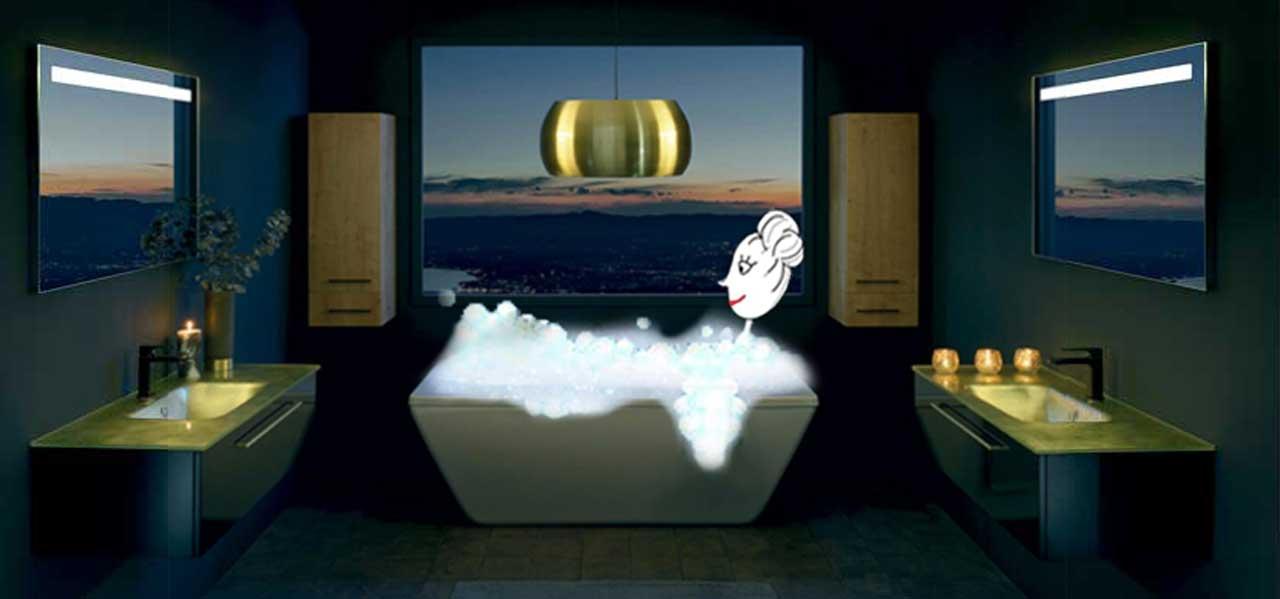 salle de bain halo noir et or - Sanijura