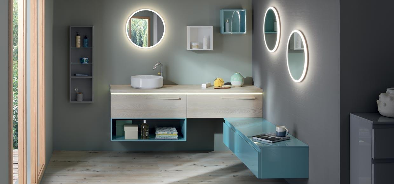 Salle de bain halo chêne blanc et menhol - Sanijura
