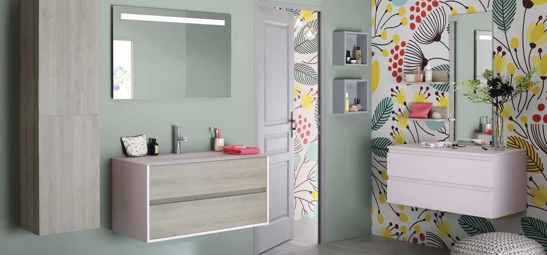 Salle de bain frame chene alabame et rose - Sanijura
